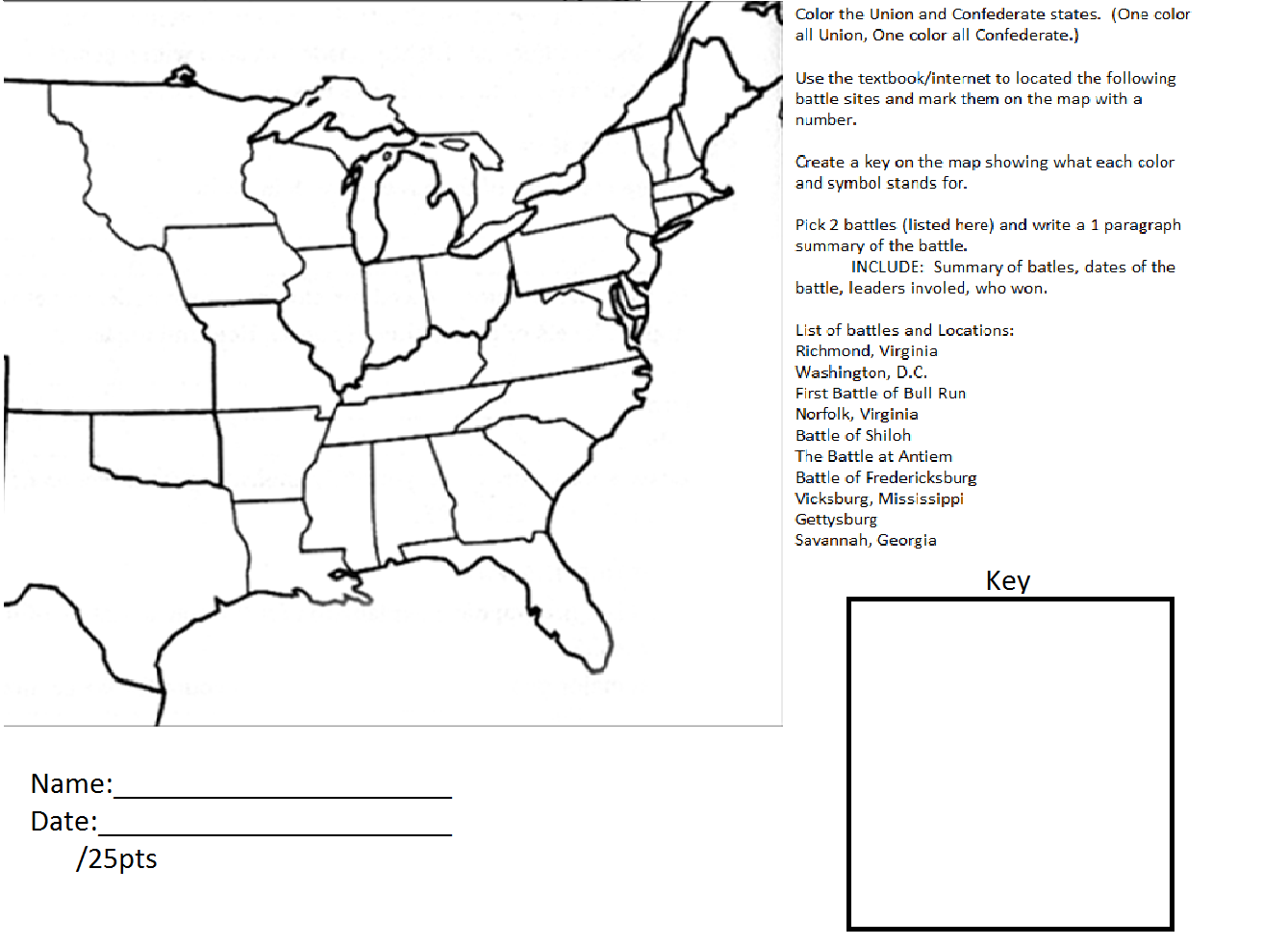 Unit VI Civil War and Reconstruction Mr Daltons Class – Civil War Timeline Worksheet